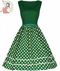 Lindy Bop 50's AUDREY vintage style POLKA DOT DRESS GREEN & CREAM