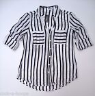 Express Black/White Stripes Convertible Sleeve PORTOFINO Shirt NWT New With Tags