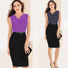 Sexy Women Sleeveless Polka Dot Bodycon Party Evening Cocktail Pencil Slim Dress