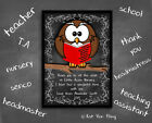 Personalised OWL Design-Frame Choice-END OF TERM GIFT-Teacher,Nursery Staff,Xmas