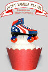 Roller Skate Derby Birthday Party EDIBLE wafer Cupcake Toppers PRECUT cup cake