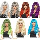 Ladies Long Curly Siren Wigs With Fringe Halloween Witch Fancy Dress