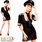 Sexy Airline Pilot + Hat Ladies Fancy Dress Uniform Womens Adults Costume Outfit
