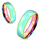 One Stainless Steel 6mm Rainbow Hue Wedding Dome Band Promise Ring