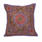 INDIAN Handmade Cushion Covers PURPLE Jaipur Mirror Work Cotton Embroidery 16""