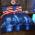 NEW YORK BLUE SKYLINE AMERICAN FLAG USA REVERSIBLE QUILT DUVET COVER BEDDING SET