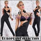 NEW EUROPEAN BLACK LEATHER LOOK PANTS OVERALL outfit XS S M L XL SKINNY HOTPANTS