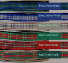"4-yd TARTAN PLAID Ribbon 5/8"" Woven Blue Red Green Gingham flower striped check"