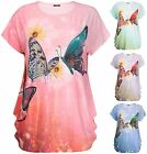 Womens Plus Size Butterfly Sequin Print Ladies Cap Sleeve Baggy Long T-Shirt Top