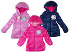 Girl's Hello Kitty Hooded Puffa Style Padded Winter Coat 3 4 6 8 Years NEW