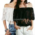 Sexy Off Shoulder Strapless semi sheer Boho Crop Tops Blouse Lace Crochet  Shirt