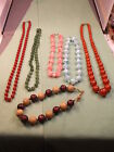#69 of 86, LOT OF OLD VTG COSTUME NECKLACES, INCL WOOD/RED/GREEN/ORANGE/PINK++++