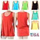 Women's 100% Cotton Loose Fit Tank Top Relaxed  Basic Plain