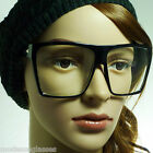 RETRO Super Oversized Large Men Women Square Frame Clear Lens Eye Glasses NEW