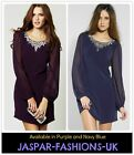 ♥ LIPSY ♥ NAVY BLUE OR PURPLE DIAMANTE SIZE 8-16  PARTY CLUB SHIFT LADIES DRESS