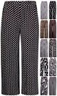 Womens Plus Size Paisley Spot Printed Ladies Stretch Palazzo Pants Long Trousers