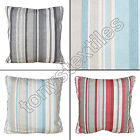 STRIPED STRIPEY CUSHION COVER CASE 100% COTTON RED GREY CREAM BLUE 43 x 43cm