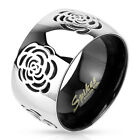 Stainless Steel Rose Flower Ring Fashion Jewelry Size 5-11