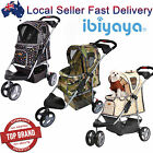 Pet Dog Cat Foldable Carrier Stroller Pram Trolley Travel Cage Push Wheel Large