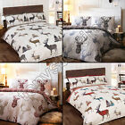 TARTAN CHECK STAG DEER ANIMAL QUILT DUVET COVER NATURAL GREY SINGLE DOUBLE KING
