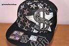 Dollar flat peak caps, black dope fitted hip hop hats, rhinestone mens & ladies