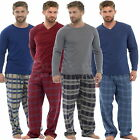 Mens Check Fleece Bottoms & Cotton Jersey Top Pyjama Sets PJs Loungewear S M L X