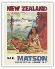 New Zealand Maori Woman Cruise Ship Matson Line Vintage Art Poster Print Giclee
