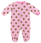 Girls Baby Pink & Brown Big Spot Fleece All in One Sleepsuit Newborn to 9 Months