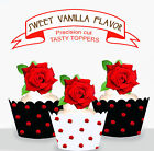 Red Rose Flower Party EDIBLE Tasty Wafer Cup cake Toppers PRECUT cupcake