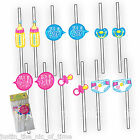 BABY SHOWER STRAWS Party Accessories Novelties Mum To Be Its a Boy / Girl x12