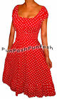 GT3 FUNFASH RED WHITE POLKA DOTS ROCKABILLY PEASANT PLUS SIZE DRESS 2X 22 24