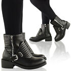 LADIES WOMENS LOW MID BLOCK HEEL PLATFORM CHELSEA BIKER CHUNKY ANKLE BOOTS SHOES