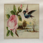 Vinatge Rose Blue Bird Printed Fabric Panel Make A Cushion Upholstery Craft