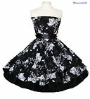 BLACK & WHITE FLORAL STRAPLESS 1950S ROCKABILLY SWING RETRO VINTAGE DRESS 8-18