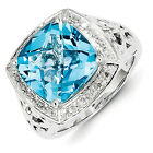 SS Blue Topaz & Diamond Ring/CT Wt- 8.73ct/Met Wt- 7.010g
