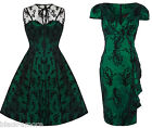 New Emerald Green Vintage Flower Flocked Lace Net Party Prom Dress Flare Pencil