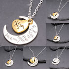 I Love You To The Moon & Back Family Gift Silver Gold Heart Necklace Pendant