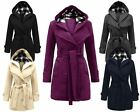 LADIES WOMENS LONG SLEEVES HOODED BUTTON BELTED FLEECE POCKET JACKET COAT 8-20