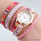Womens Girls New Fashion Weave Knitting Wrap Cuff Bracelet Quartz Wristwatch