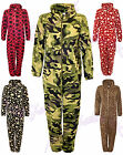 Unisex Mens & Ladies Fleece Hooded Assorted Print Onesie All In One -sizes S-xl