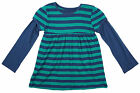 Girls Chainstore Navy & Green Long Sleeved Stripe Dress Top 1 to 6 Years NEW
