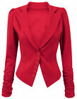 Women Long Ruched Sleeve Button Front Panell Slim Fit Blazer / Jacket size 8-14