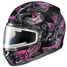 HJC Adult Pink/Black/White CL-17 Mystic Electric Shield Snowmobile Helmet Snow