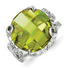 SS Light Green and Clear CZ Ring. Metal Wt- 12.9602g