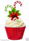 18 x CANDY CANE & CHRISTMAS FLOWER - STAND UPS Edible Wafer Cup Cake Toppers
