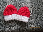 HAND KNITTED MITTENS RED WITH WHITE  CUFF  premature  TAKE A LOOK