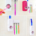 Wall Mount Stand Automatic Toothpaste Dispenser+5 Toothbrush Holder kits