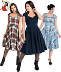 HELL BUNNY 50s ABERDEEN TARTAN check DRESS hogmony GREEN WHITE