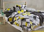 Yellow Black White Grey Geometric Quilt Cover Set Single Double Queen King