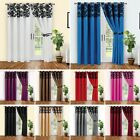 Luxury Flock  Eyelet Fully Lined Ready Made Pair Of Curtains With Tie Backs